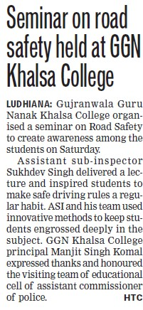 Seminar on road safety held (Gujranwala Guru Nanak Khalsa College)