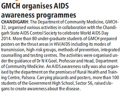 GMCH organises AIDS awareness programme (Government Medical College and Hospital (Sector 32))