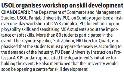 USOL organises workshop on skill development (University School of Open Learning (USOL))
