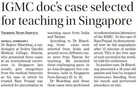 IGMC doc's case selected for teaching in Singapore (Indira Gandhi Medical College (IGMC))
