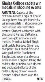 Khalsa College cadets win medals in shooting events (Khalsa College)