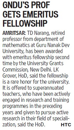 GNDUs prof gets emeritus fellowship (Guru Nanak Dev University (GNDU))