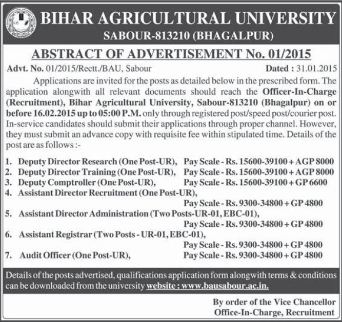 Deputy Director Research (Bihar Agricultural University)