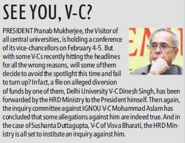 Pranab will meet VC (Delhi University)