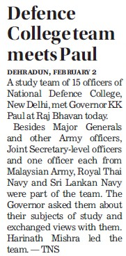Defence college team meets Paul (National Defence College)