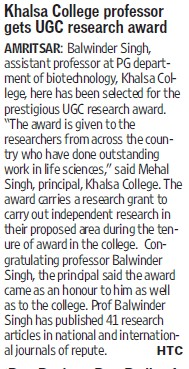 Khalsa College Professor gets UGC research award (Khalsa College)