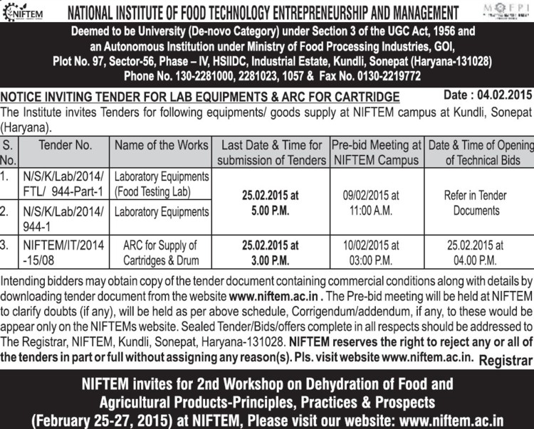Supply of Laboratory equipments (National Institute of Food Technology Entrepreneurship and Management (NIFTEM))