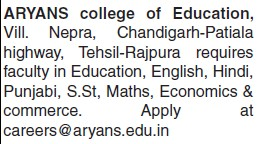 Faculty for English and Hindi (Aryans College of Education)