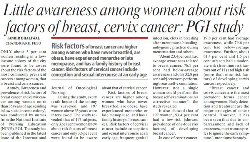 Little awareness among women about risk factors of breast, PGI study (Post-Graduate Institute of Medical Education and Research (PGIMER))