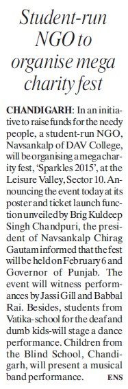 Student run NGO to organise mega charity fest (DAV College Sector 10)