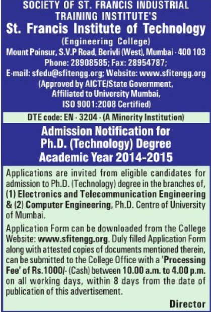 PhD Programme (St Francis Institute Of Technology)