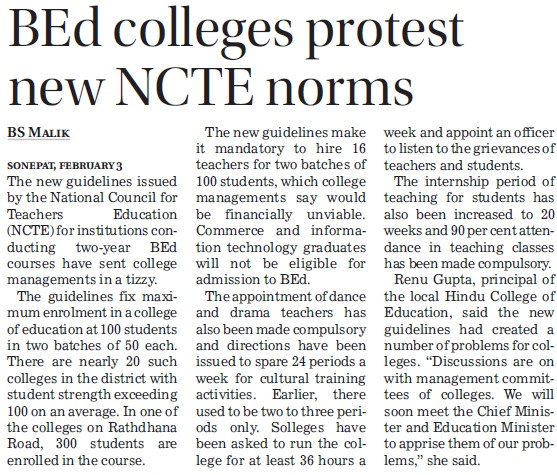 B Ed colleges protest new NCTE norms (National Council for Teacher Education NCTE)