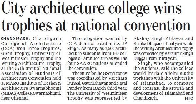 City architecture college wins trophies at National Convention (Chandigarh College of Architecture)