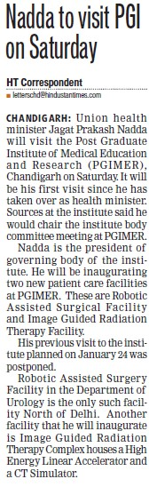 Nadda to visit PGI on Saturday (Post-Graduate Institute of Medical Education and Research (PGIMER))
