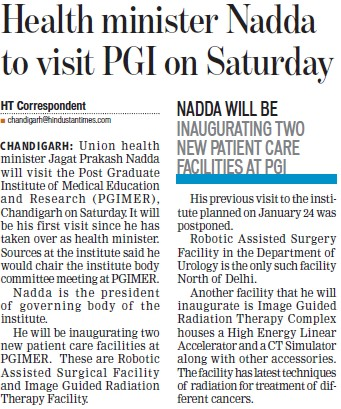 Health Minister Nadda to visit PGI (Post-Graduate Institute of Medical Education and Research (PGIMER))