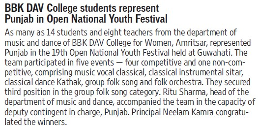 Students represent Punjab in open National Youth Fest (BBK DAV College for Women)