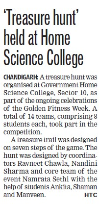 Treasure hunt held at Home Science College (Government Home Science College)