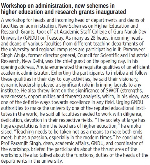 Workshop on Administration, new schemes in higher education (Guru Nanak Dev University (GNDU))
