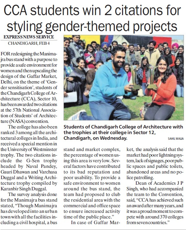 Students win 2 citations for styling gender themed projects (Chandigarh College of Architecture)