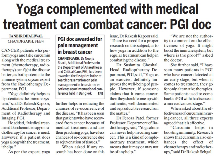 Yoga complemented with medical treatment can combat cancer (Post-Graduate Institute of Medical Education and Research (PGIMER))