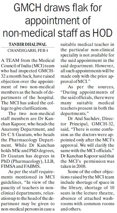 GMCH draws flak for appointment of non medical staff as HoD (Government Medical College and Hospital (Sector 32))