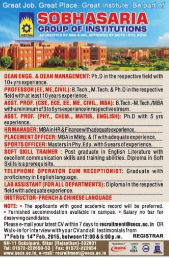 Placement Officer (Sobhasaria Group of Institution)