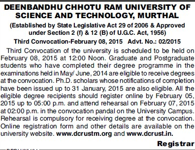 3rd Convocation Program held (Deenbandhu Chhotu Ram University of Science and Technology)