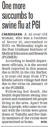 One more succumbs to swine flu (Post-Graduate Institute of Medical Education and Research (PGIMER))
