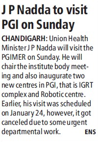 JP Nadda to visit PGI (Post-Graduate Institute of Medical Education and Research (PGIMER))