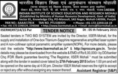 Supply of NOPA (Indian Institute of Science Education and Research (IISER))
