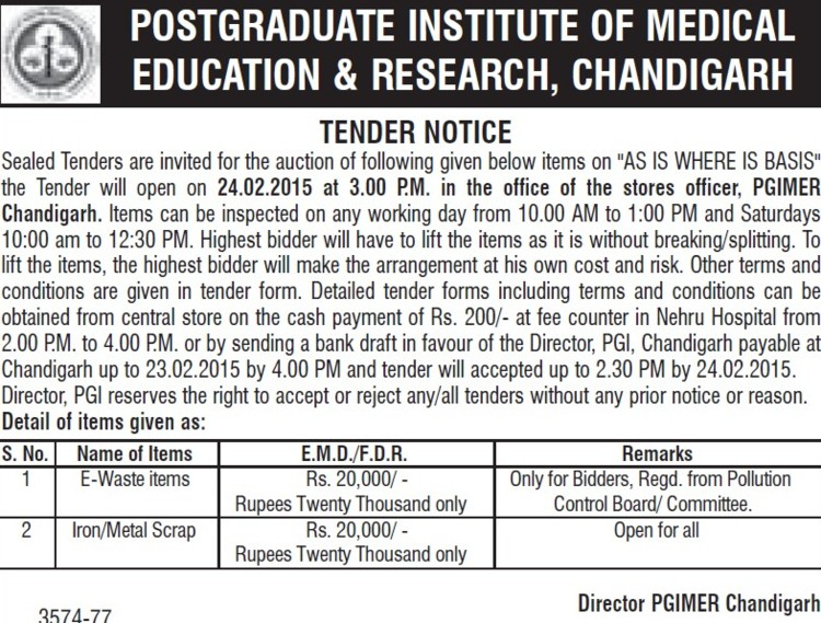 Supply of E-waste items (Post-Graduate Institute of Medical Education and Research (PGIMER))