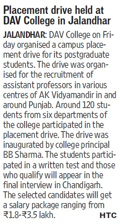 Placement drive held (DAV College)