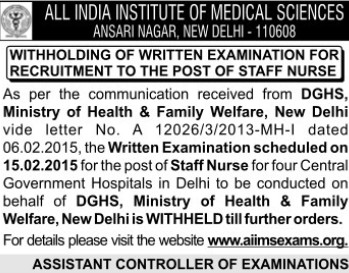 Staff Nurse (All India Institute of Medical Sciences (AIIMS))