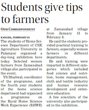 Students give tips to farmers (Chaudhary Sarwan Kumar (CSK) Himachal Pradesh Agricultural University)