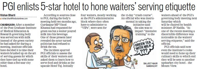 PGI enlists 5 star hotel to home waiters serving etiquette (Post-Graduate Institute of Medical Education and Research (PGIMER))