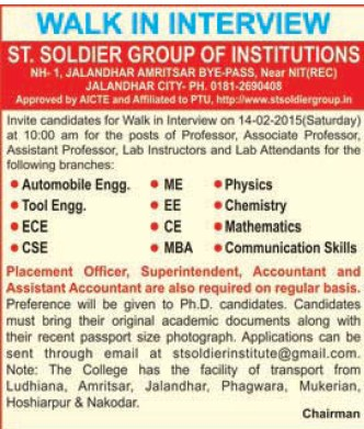 Lab Attendent for PCM (St Soldier Group)