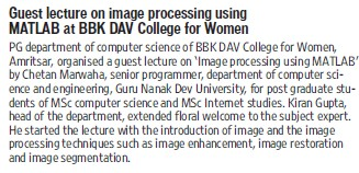 Guest lecture held (BBK DAV College for Women)