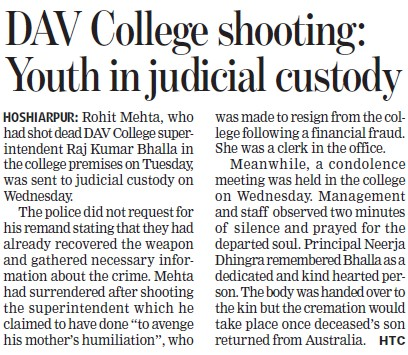 DAV College shooting, Youth in judicial custody (DAV College)