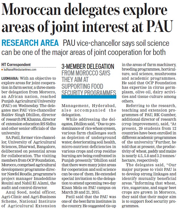 Moroccan delegates explore areas of joint interest at PAU (Punjab Agricultural University PAU)