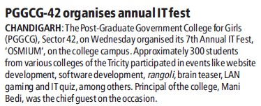 PGGCG 42 organises annual IT fest (PG Government College for Girls (GCG Sector 42))