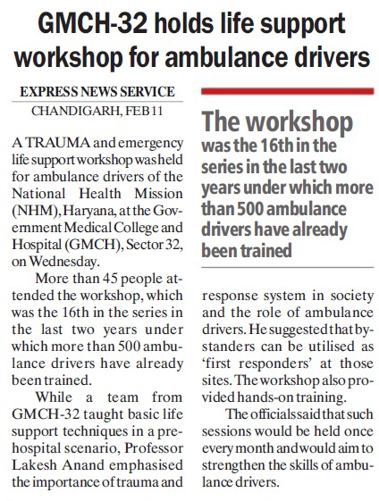 GMCH 32 holds life  support workshop for ambulance drivers (Government Medical College and Hospital (Sector 32))