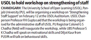 USOL to hold workshop on strengthening of staff (University School of Open Learning (USOL))