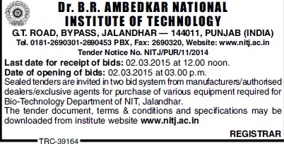 Purchase of Biotechnology equipments (Dr BR Ambedkar National Institute of Technology (NIT))