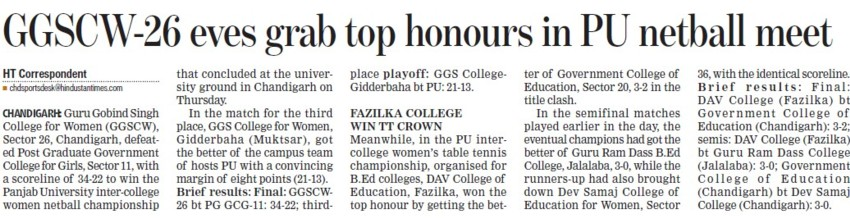 GGSCW 26 eves grap top honours in PU netball meet (Guru Gobind Singh College for Women Sector 26)