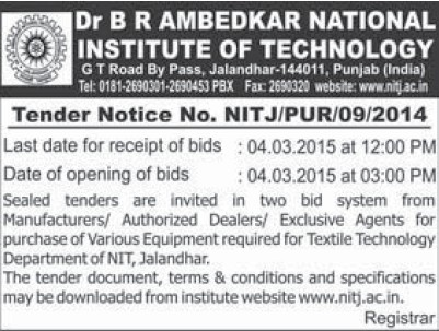 Purchase of equipments for textile technology (Dr BR Ambedkar National Institute of Technology (NIT))