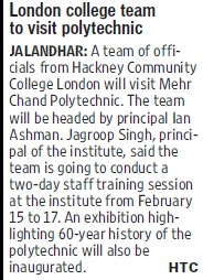 London college team visit poly (Mehr Chand Polytechnic College)