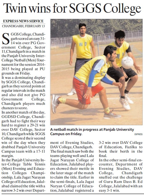 Twin wins for SGGS College held (SGGS Khalsa College Sector 26)
