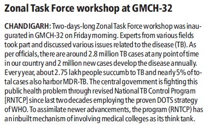 Zonal task force workshop held (Government Medical College and Hospital (Sector 32))