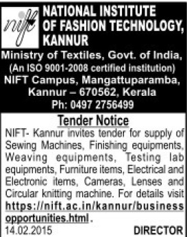 Supply of Sewing machine (National Institute of Fashion Technology (NIFT), Kannur)