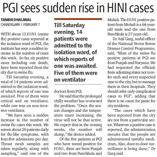 PGI sees sudden rise in HINI cases (Post-Graduate Institute of Medical Education and Research (PGIMER))